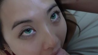Asian cocksucker does her chores @Sukisukigirl Green Eyes WMAF POV BLOWJOB